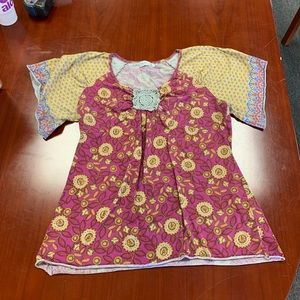 Unity World Wear Crochet Embellished Boho Top XL
